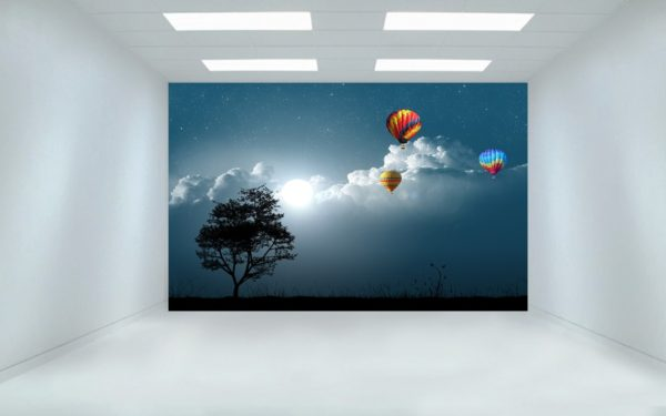 Nigh Sky & Parachutes 3D Wall Painting / Wallpaper
