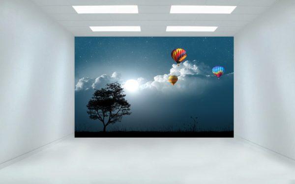 Nigh Sky & Parachutes 3D Wall Painting / Wallpaper