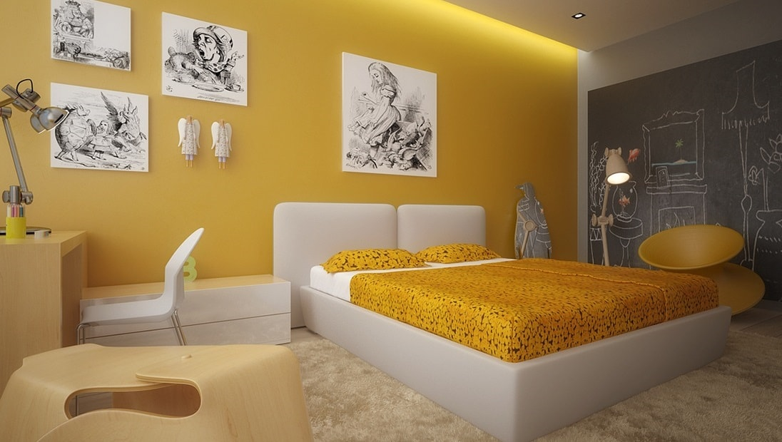 Sunny Yellow Bedroom Walls
